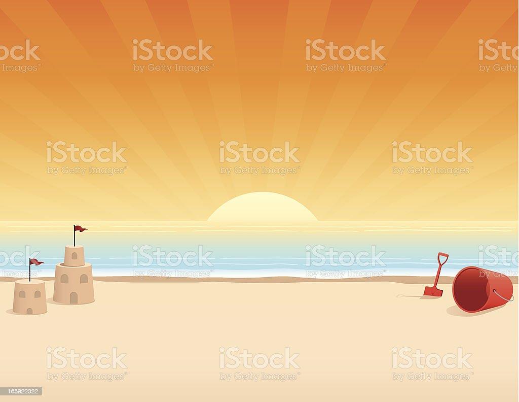 Beach at Sunrise vector art illustration