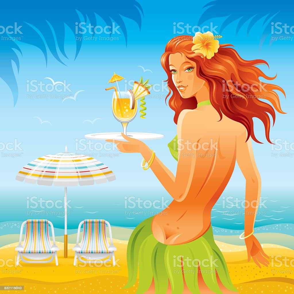 Beach background with beautiful hula girl and tropical cocktail vector art illustration