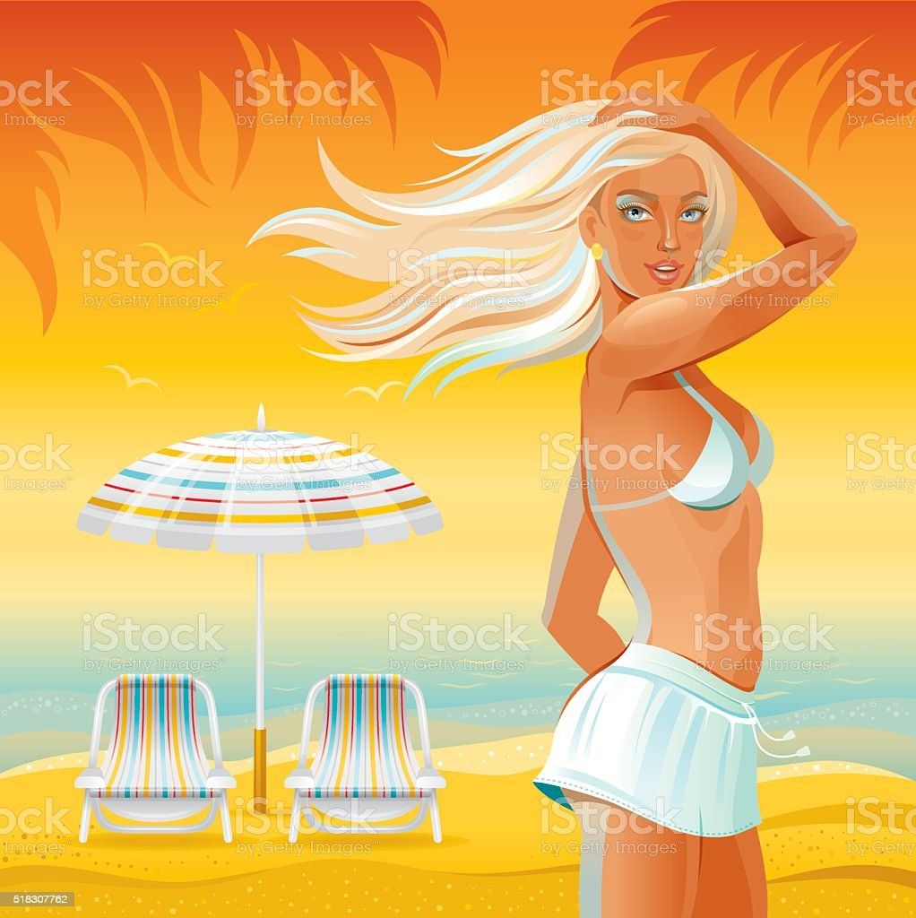 Beach background with beautiful tan girl vector art illustration