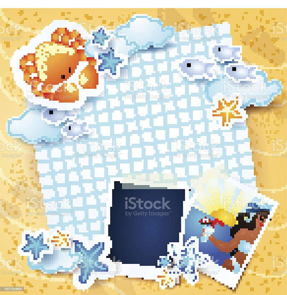 Beach background with photo frames royalty-free stock vector art