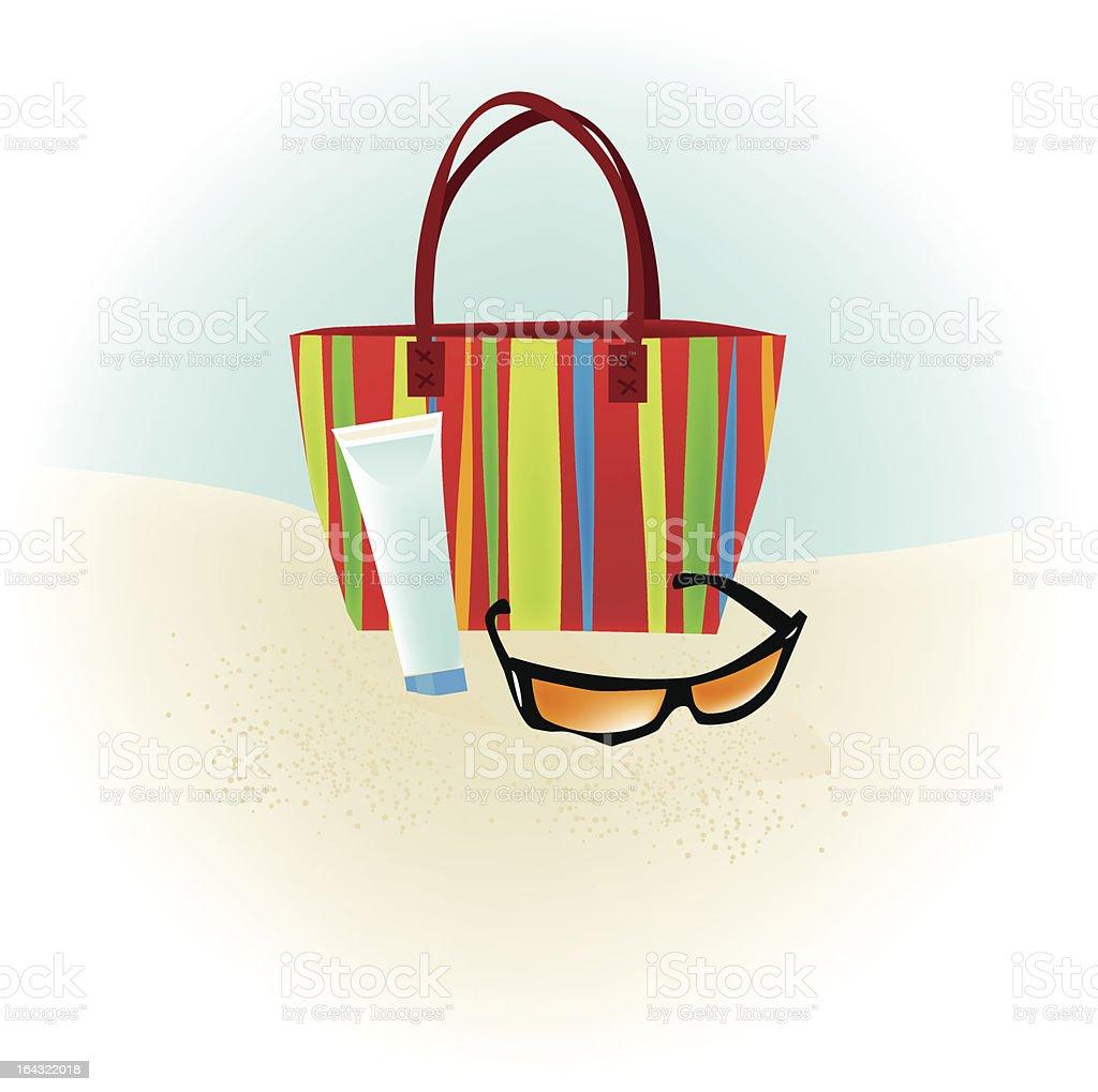 Beach Bag Sunglasses vector art illustration