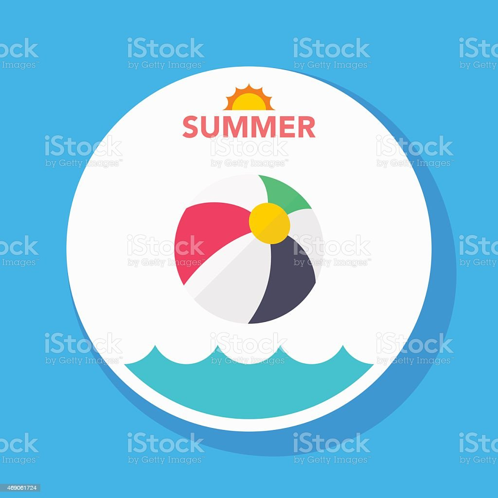 beach ball flat icon with long shadow on circle background vector art illustration