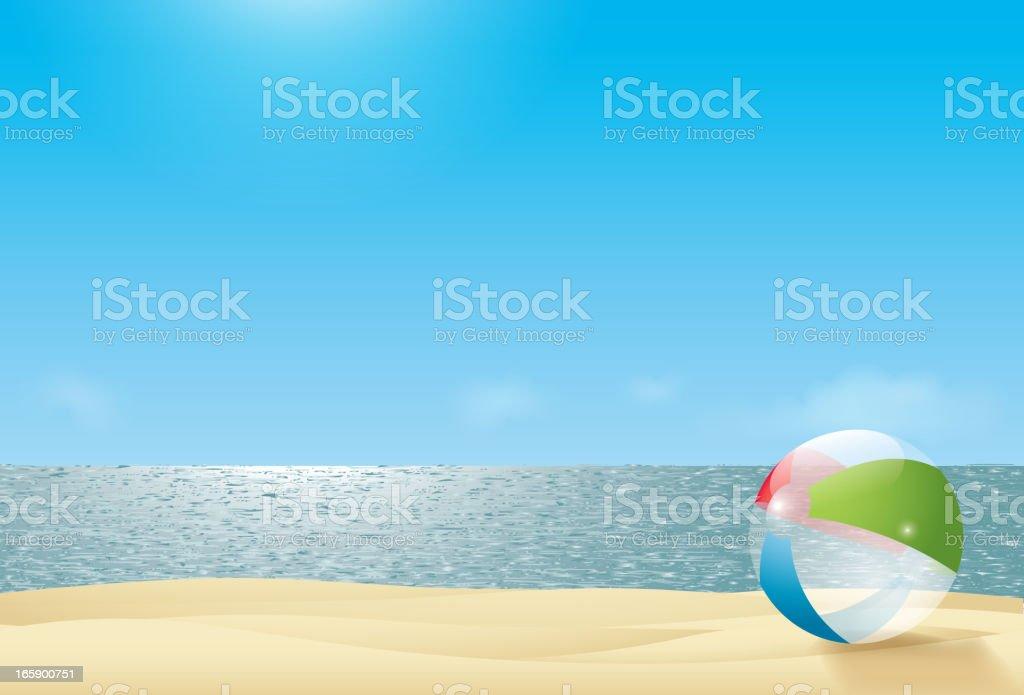 beach ball on a beach next to the sea vector art illustration