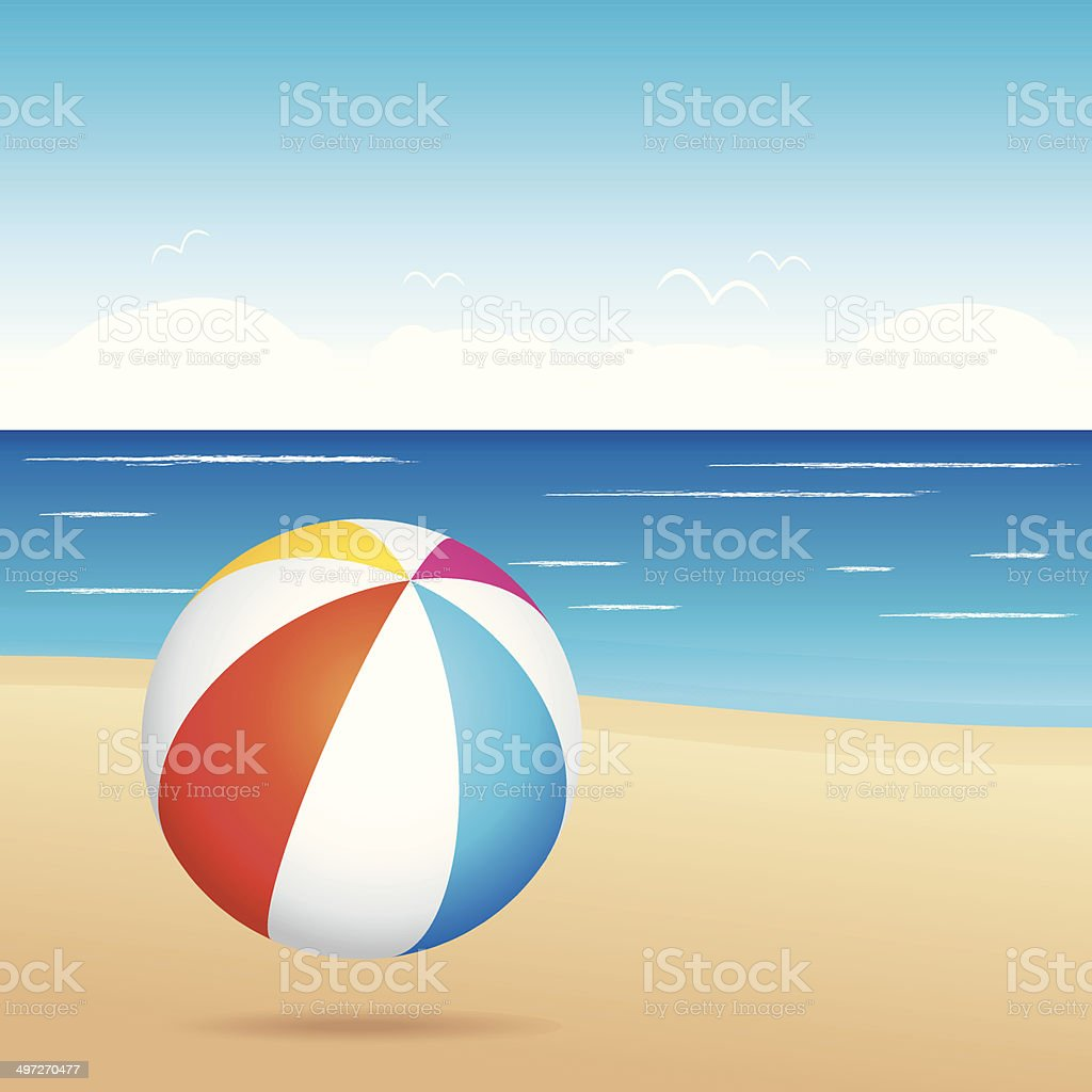Beach ball on sand. Holiday illustration. vector art illustration