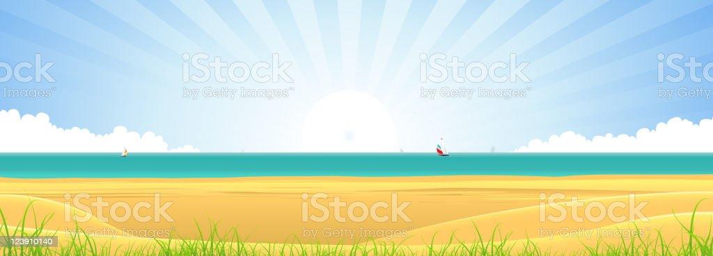 Beach Banner vector art illustration