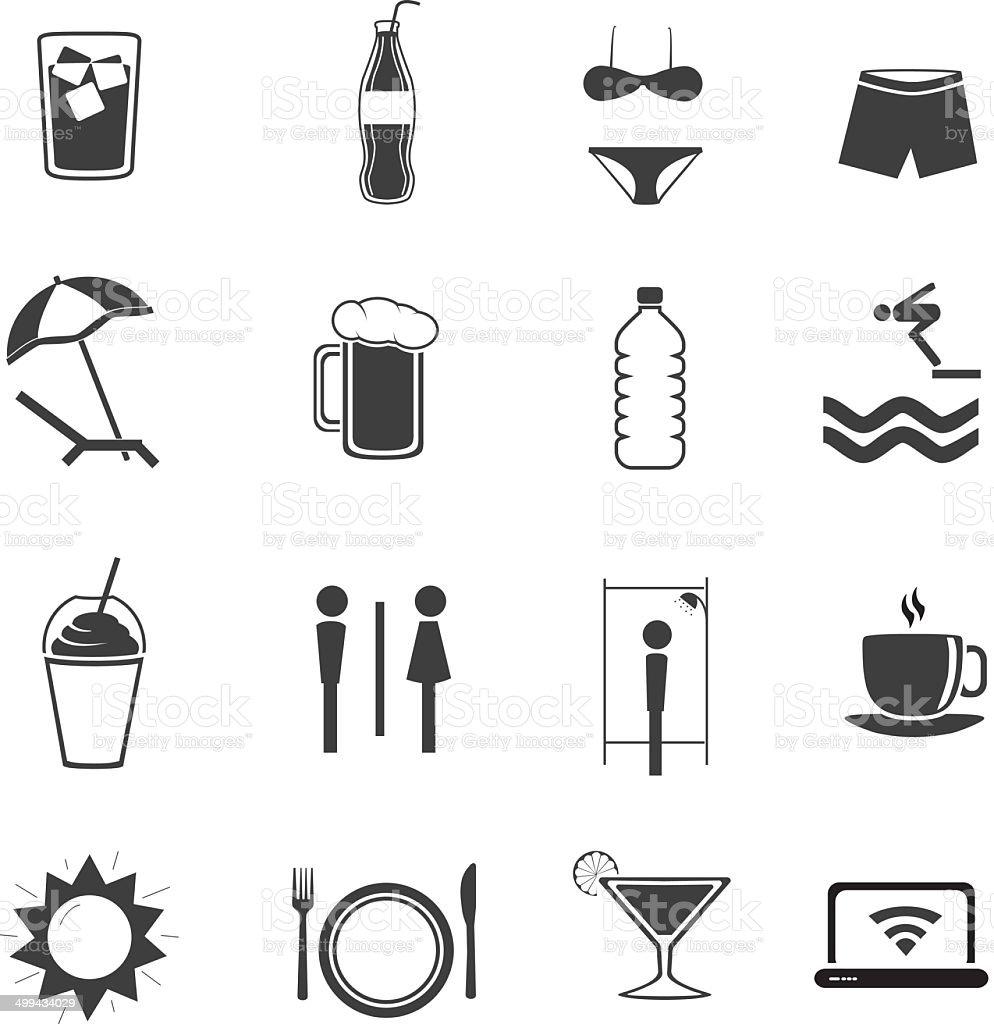 Beach Bar ?con Set V1 vector art illustration