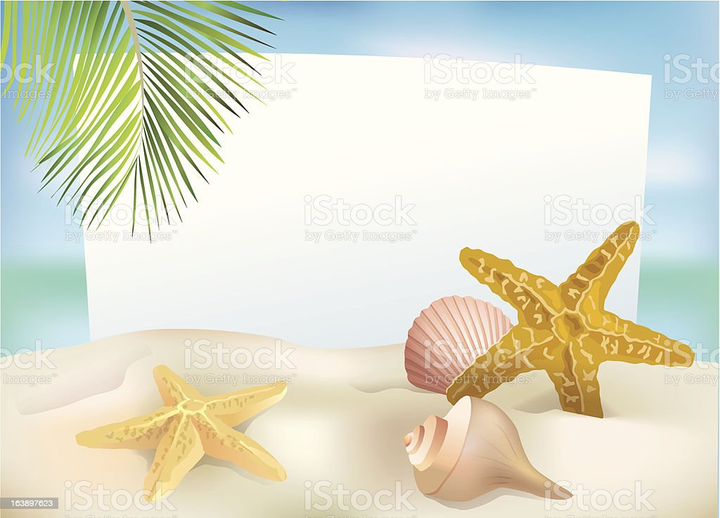 Beach blank paper royalty-free stock vector art