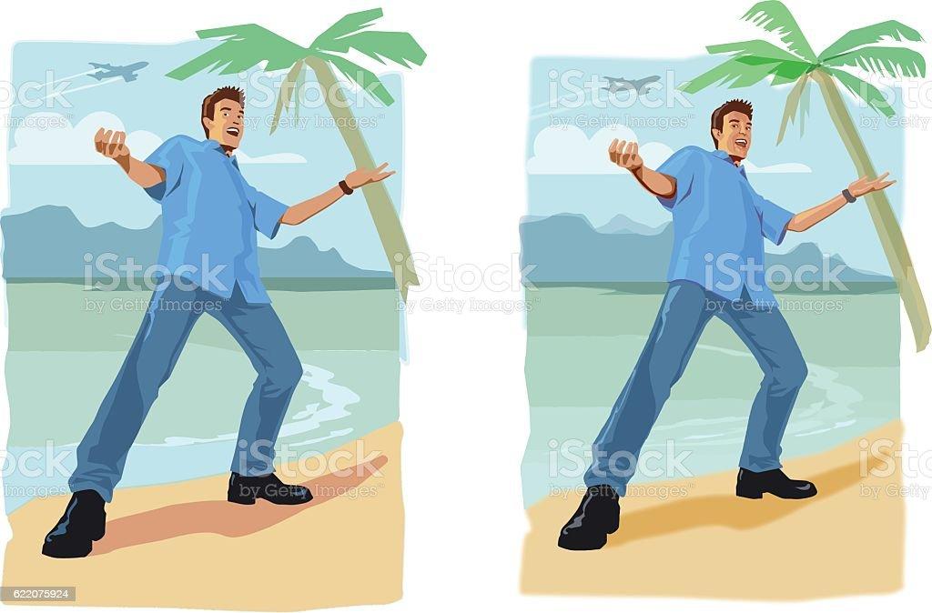 Beach Boy Tourist vector art illustration