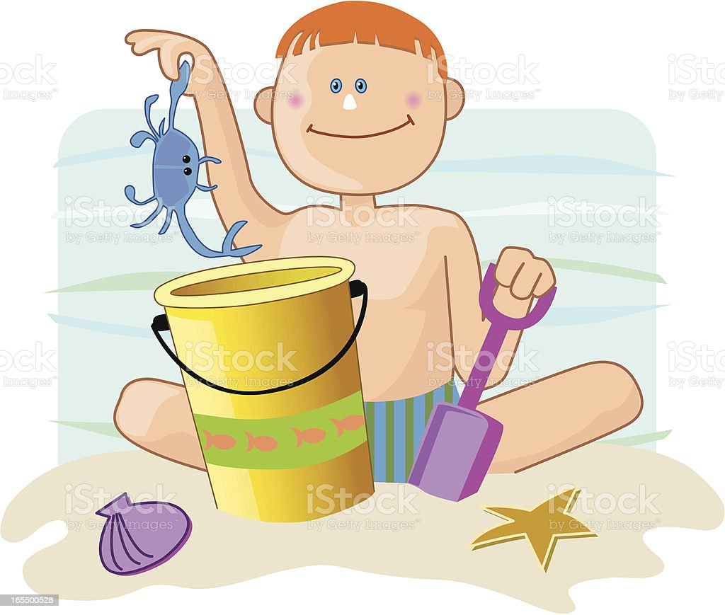 Beach boy with crab royalty-free stock vector art