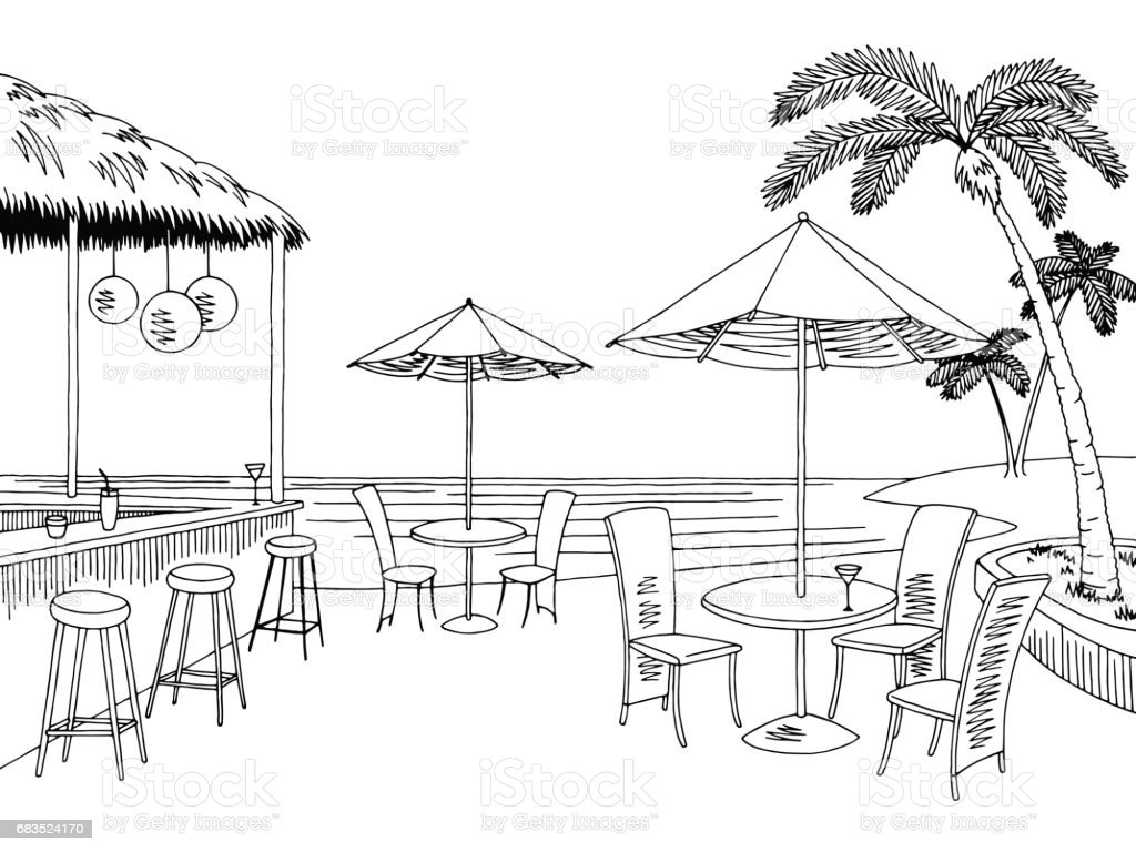 beach cafe bar graphic black white landscape sketch illustration