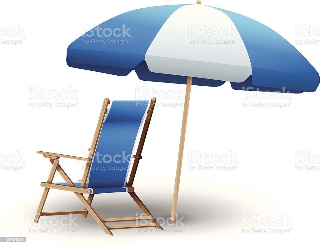 Beach Chair and Umbrella vector art illustration