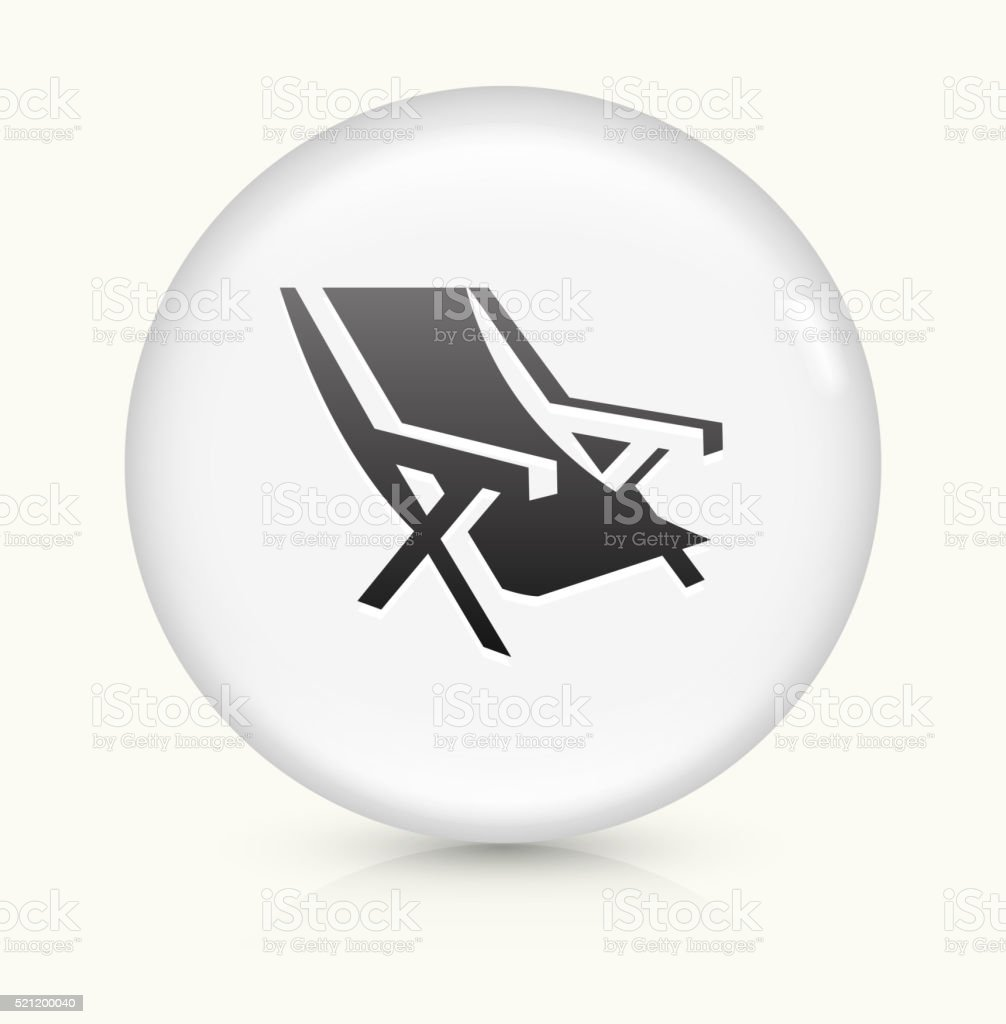 Beach Chair icon on white round vector button vector art illustration
