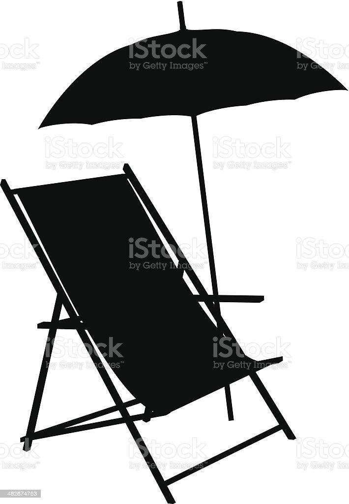 Beach Chair Silhouette vector art illustration