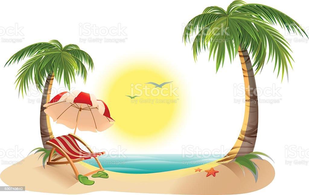 Beach chaise longue under palm tree. Beach umbrella vector art illustration