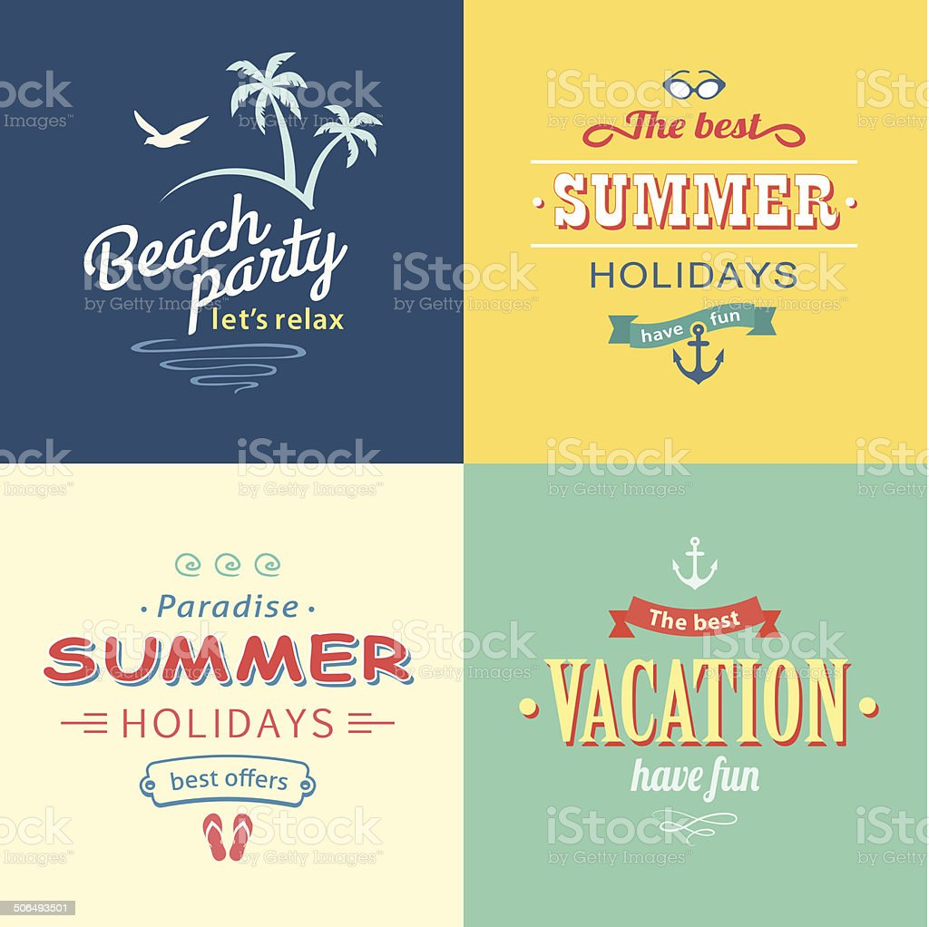 Beach colorful labels set royalty-free stock vector art