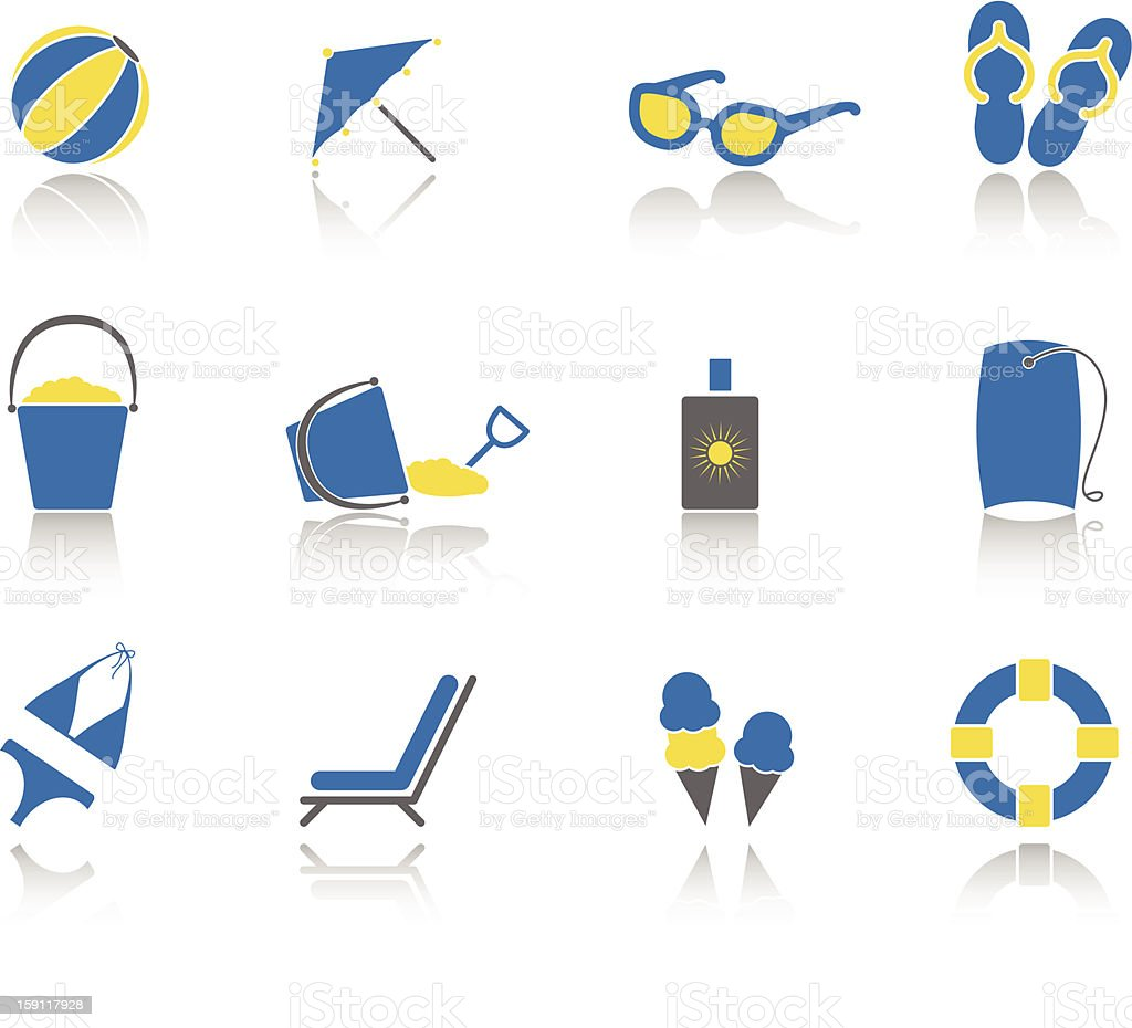 Beach Day Icons vector art illustration