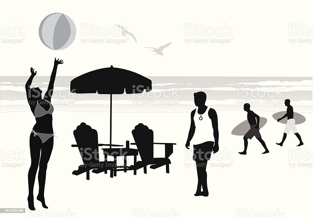 Beach Day Vector Silhouette vector art illustration