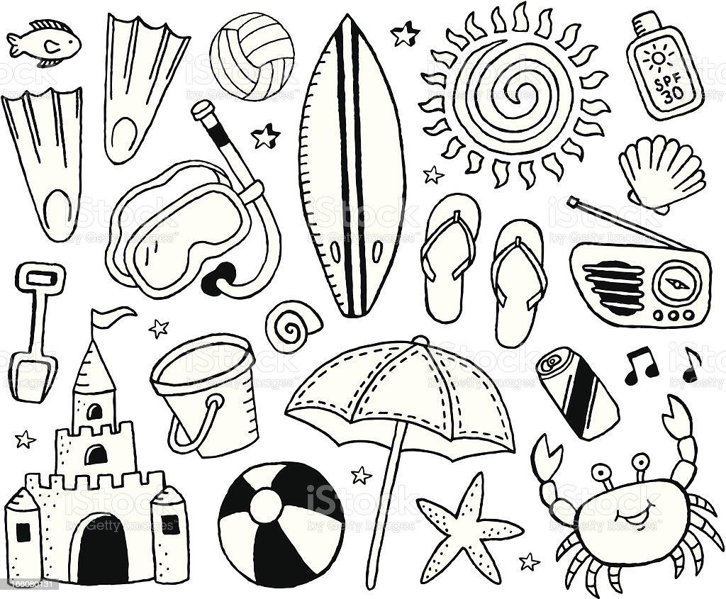 Beach Doodles royalty-free stock vector art