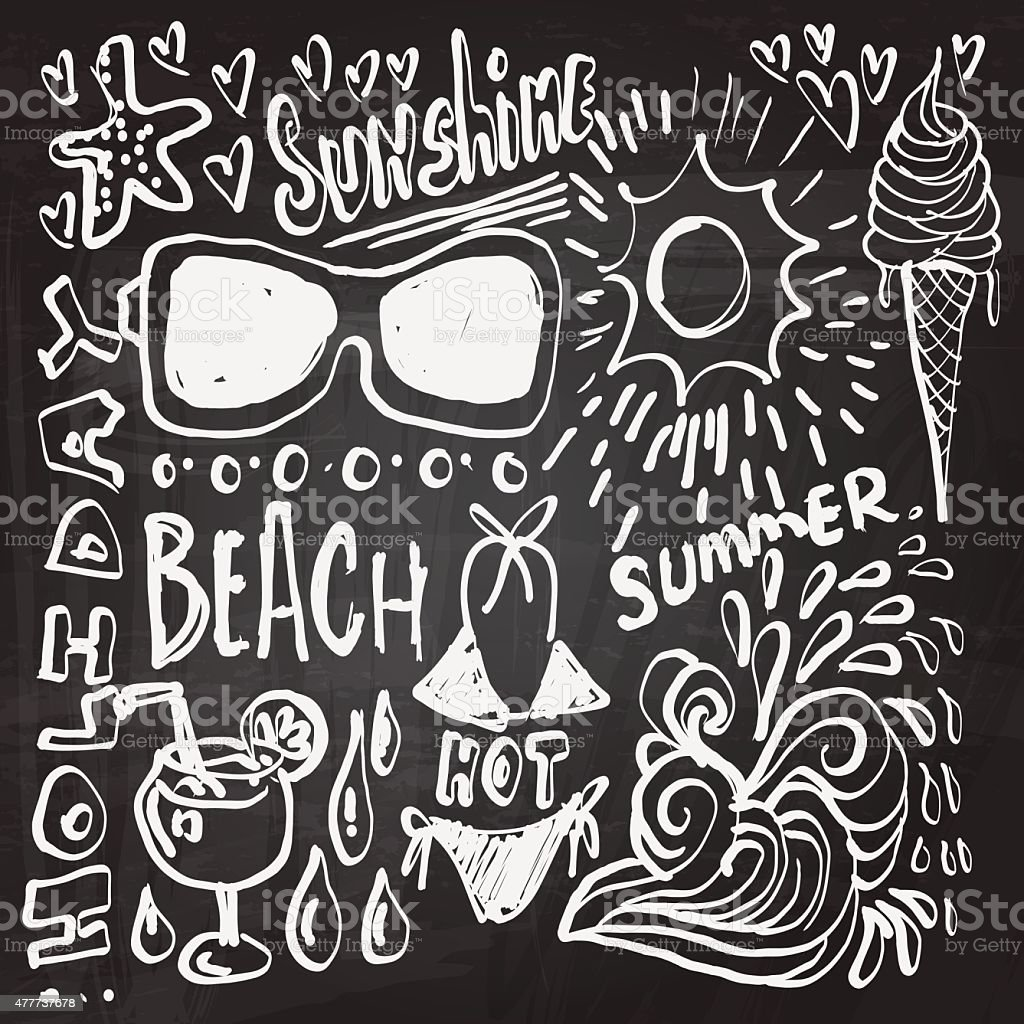 Beach elements sketch in black and white vector art illustration