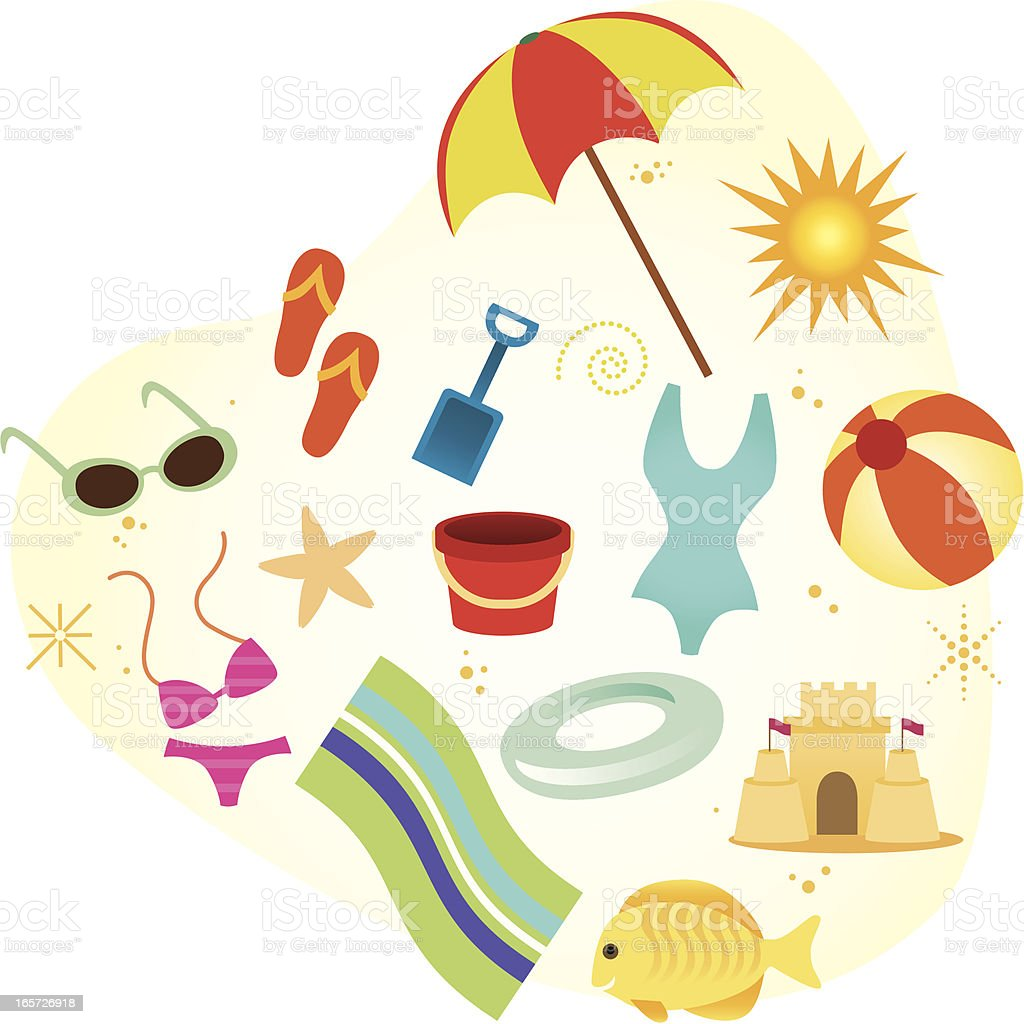 Beach Elements vector art illustration
