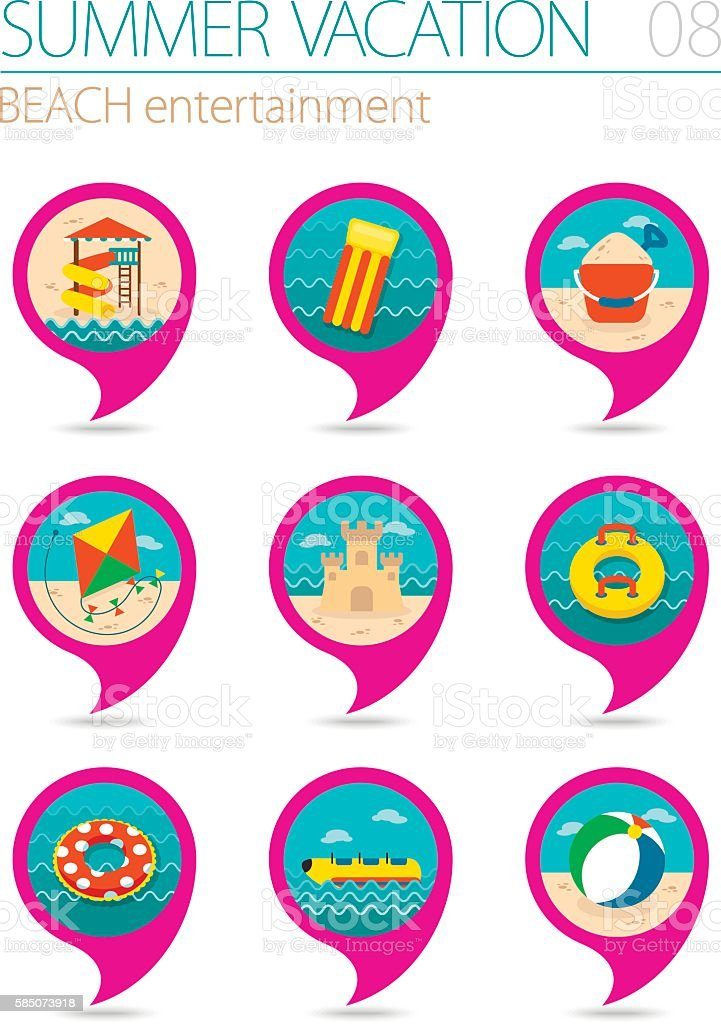 Beach entertainment pin map icon set. Vacation vector art illustration