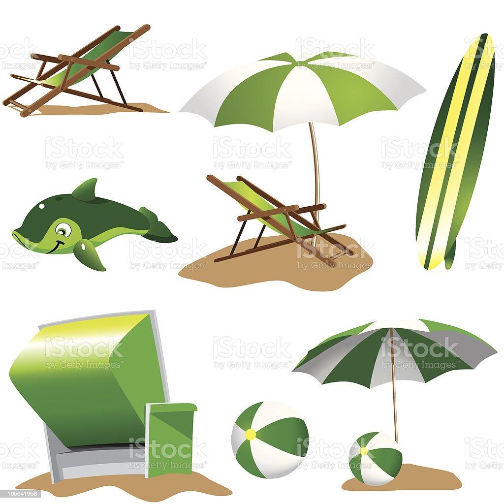 beach equipment green royalty-free stock vector art