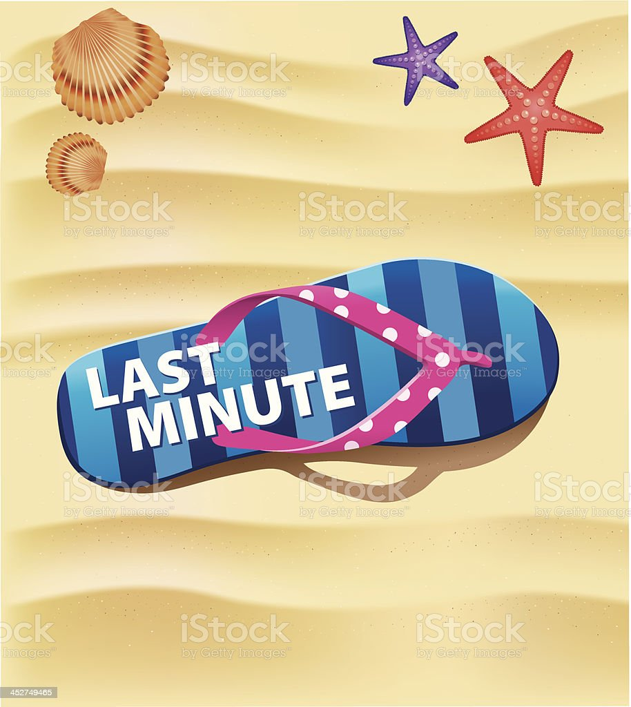 beach flip with text last minute on send royalty-free stock vector art