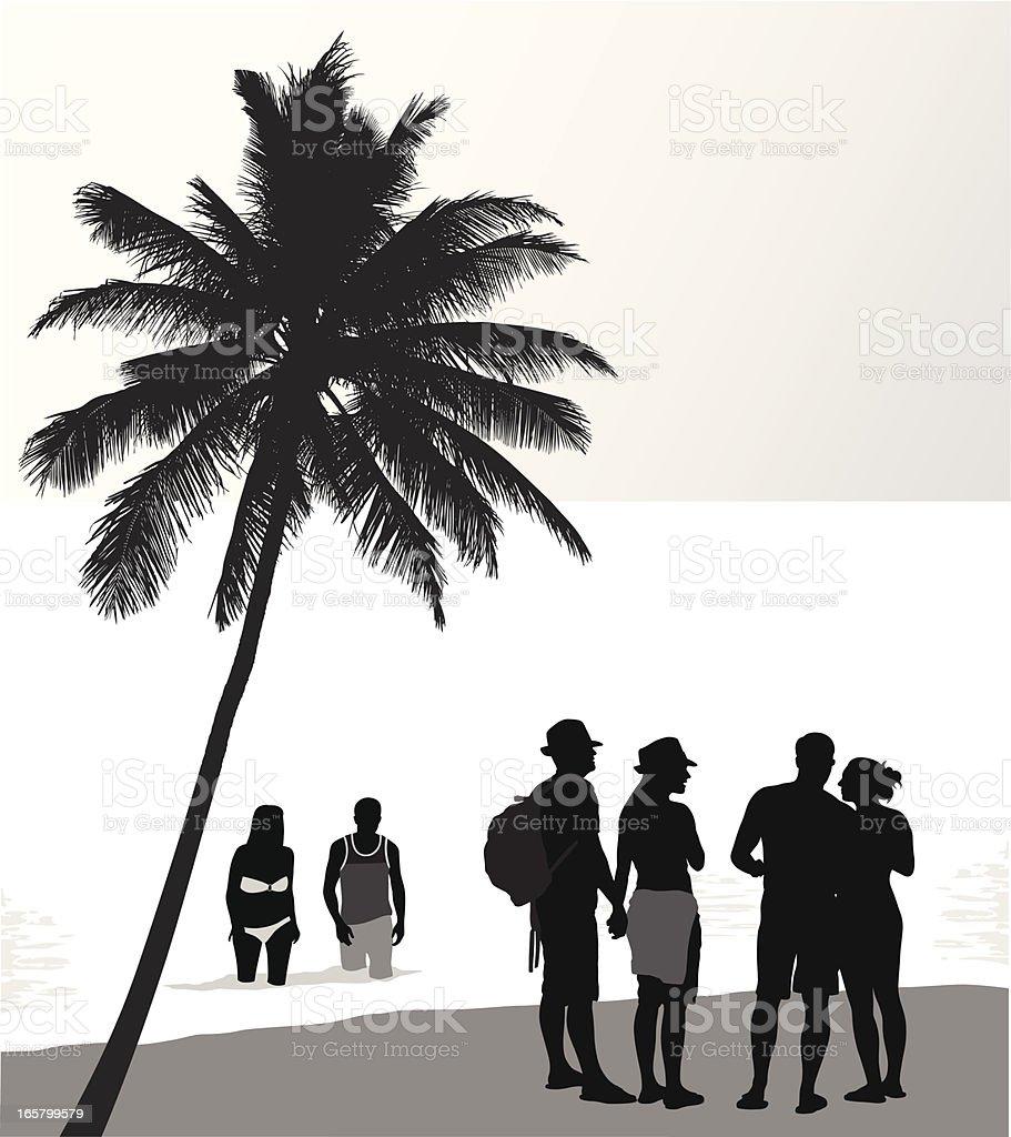 Beach Friends Vector Silhouette royalty-free stock vector art