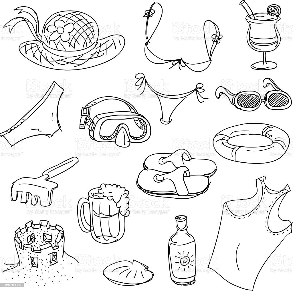 Beach fun in black and white vector art illustration