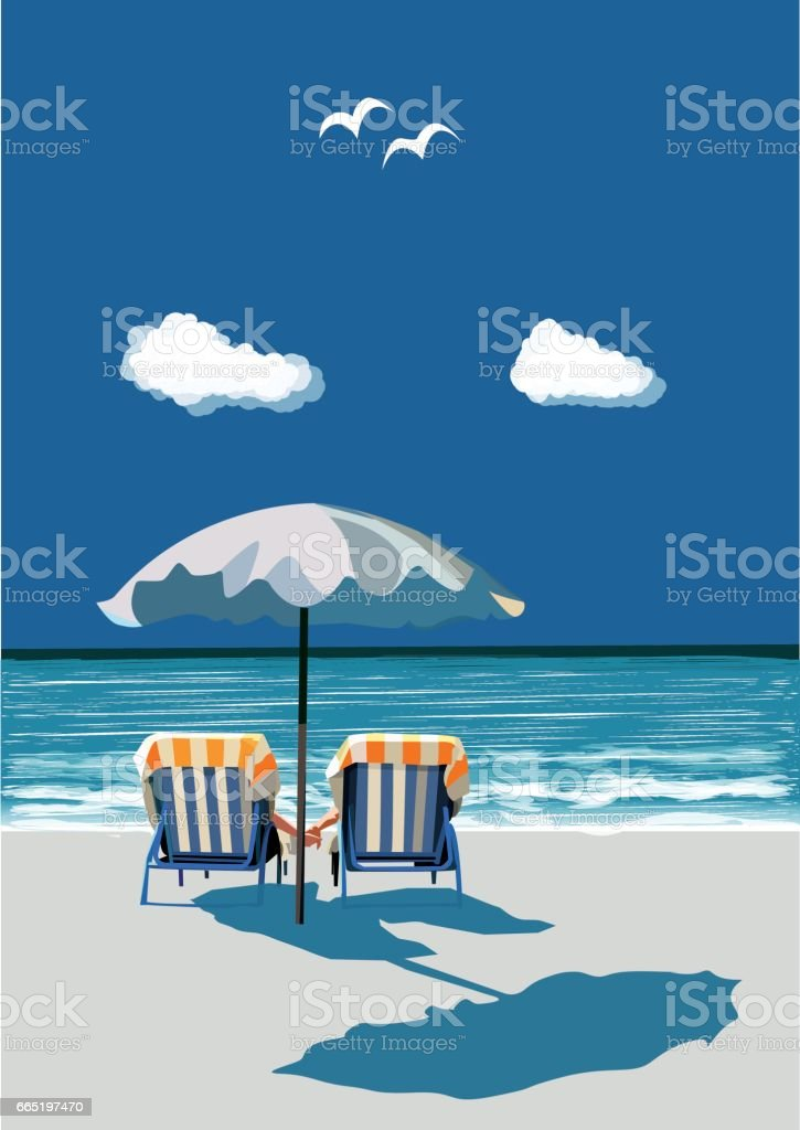 Beach, happy couple sitting on deck chairs, under umbrealla, on vacation, vector vector art illustration