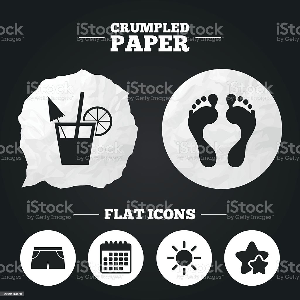 Beach holidays icons. Cocktail, human footprints vector art illustration