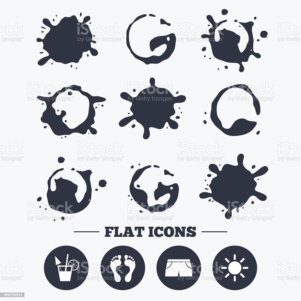 Beach holidays icons. Cocktail, human footprints vector art illustration