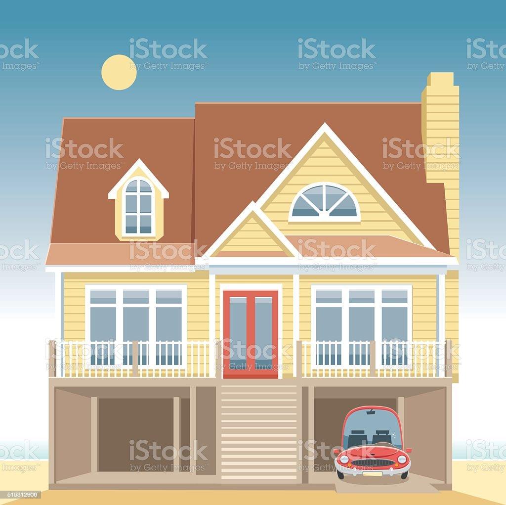 Beach house and car vector art illustration