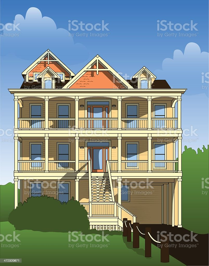 Beach House Villa Cabin royalty-free stock vector art