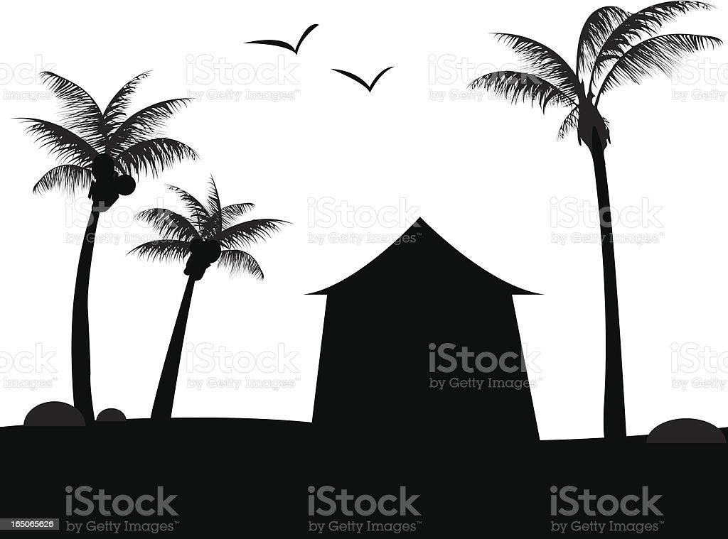 Beach Hut vector art illustration