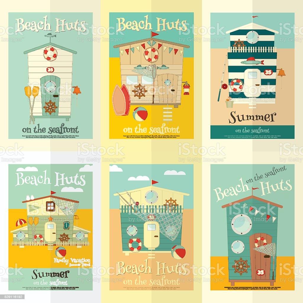 Beach Huts vector art illustration