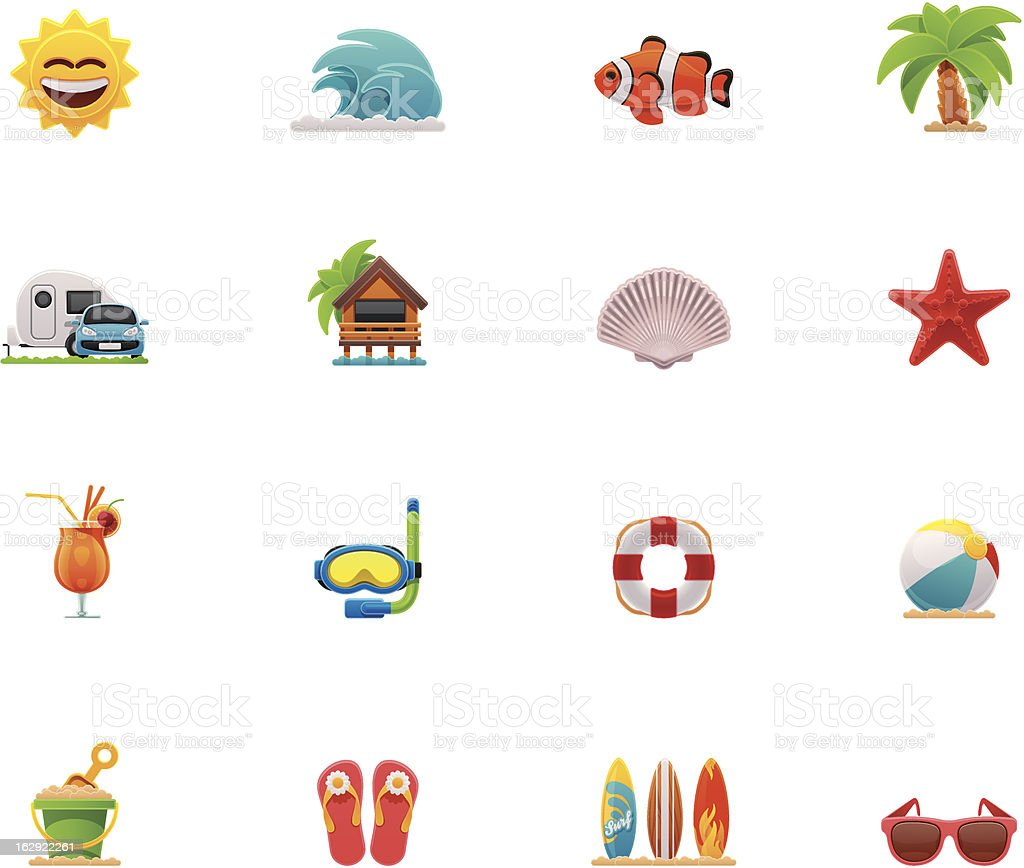 Beach icon set royalty-free stock vector art