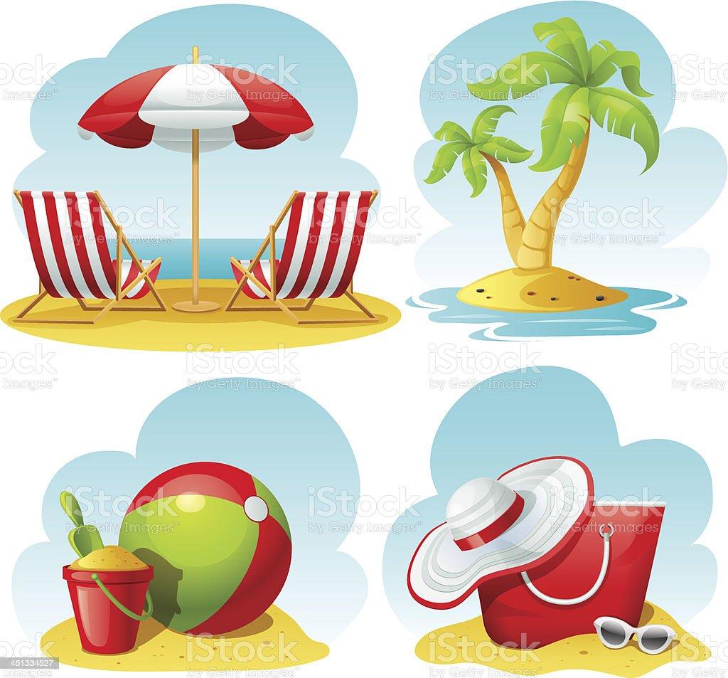 beach icon set vector art illustration