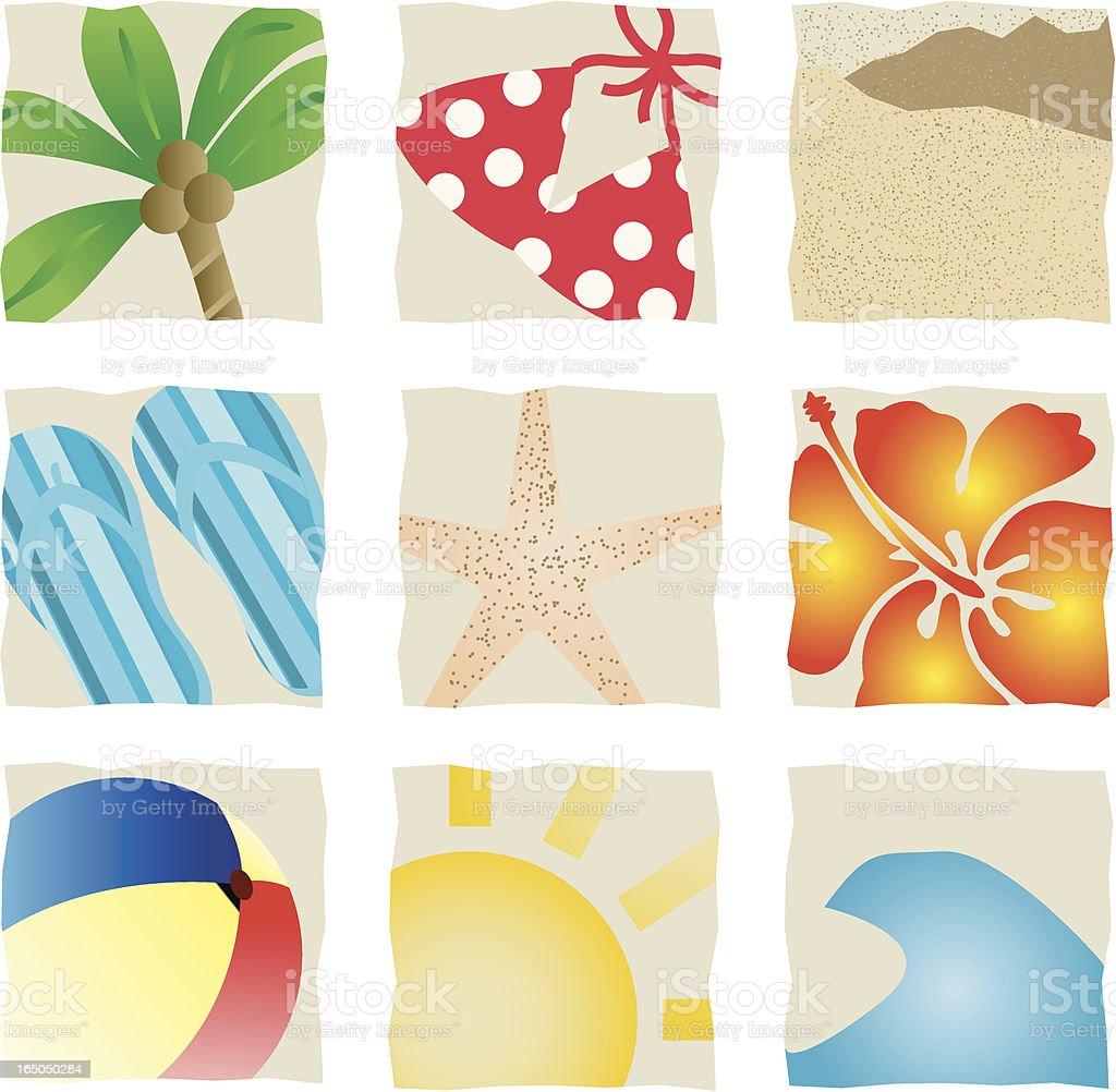 Beach Icons royalty-free stock vector art