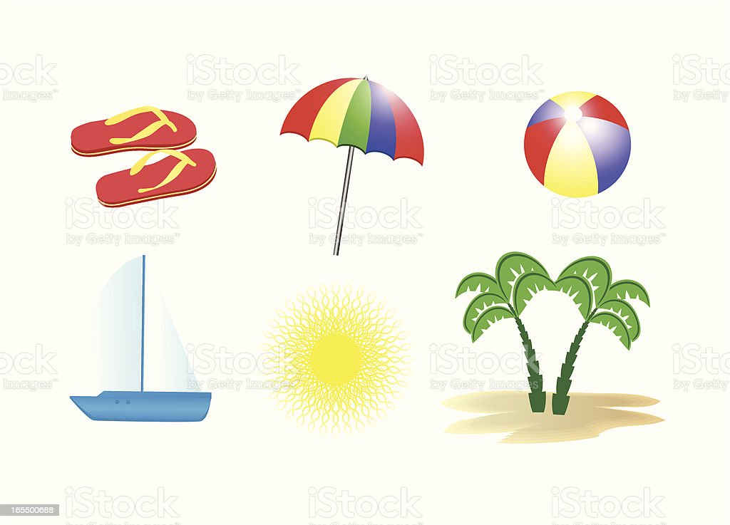Beach icons . royalty-free stock vector art