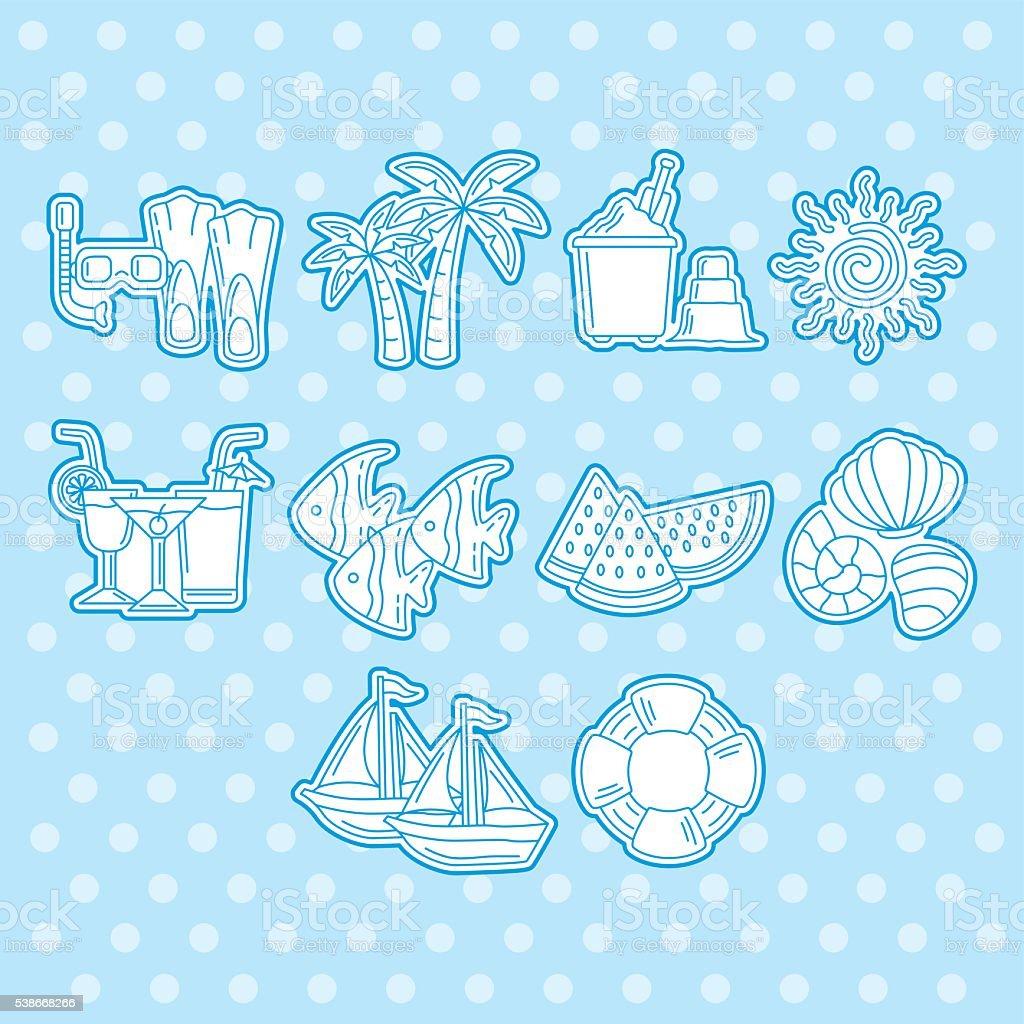 Beach icons vector art illustration