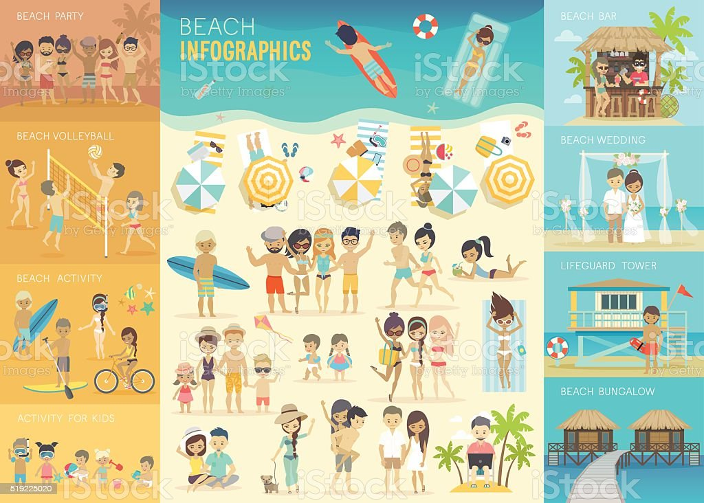 Beach Infographic set with charts and other elements. vector art illustration