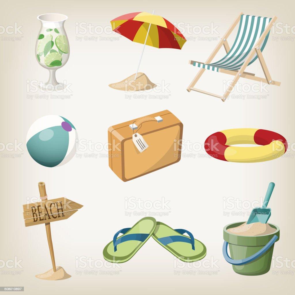Beach items set. Travel, vacation items. Vector illustrations vector art illustration