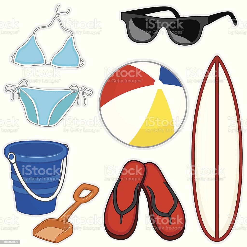 Beach Items royalty-free stock vector art