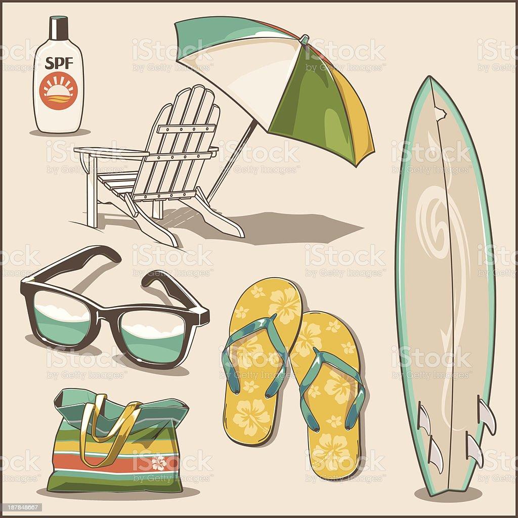 Beach Items vector art illustration