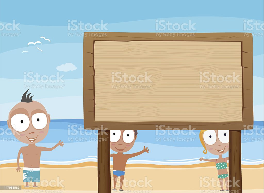 beach kids with wooden board royalty-free stock vector art