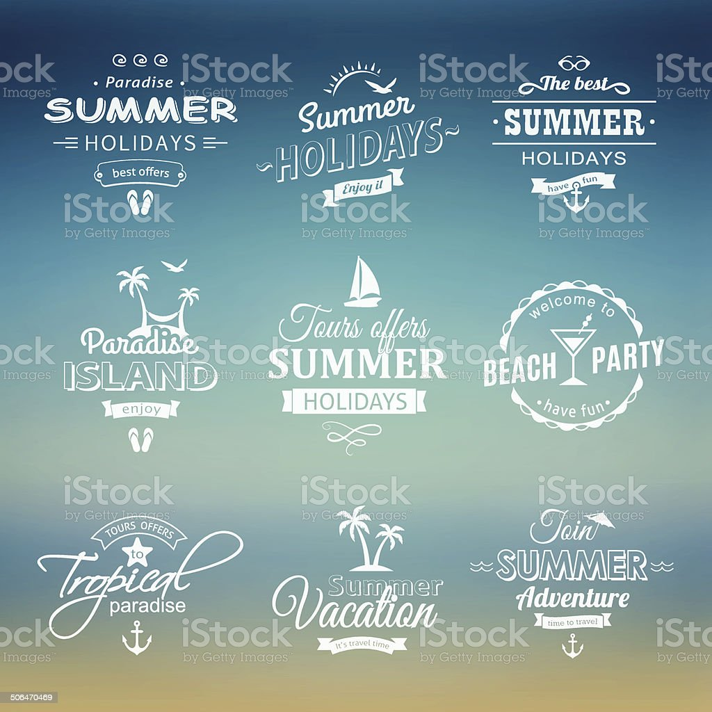 Beach labels set on blue royalty-free stock vector art
