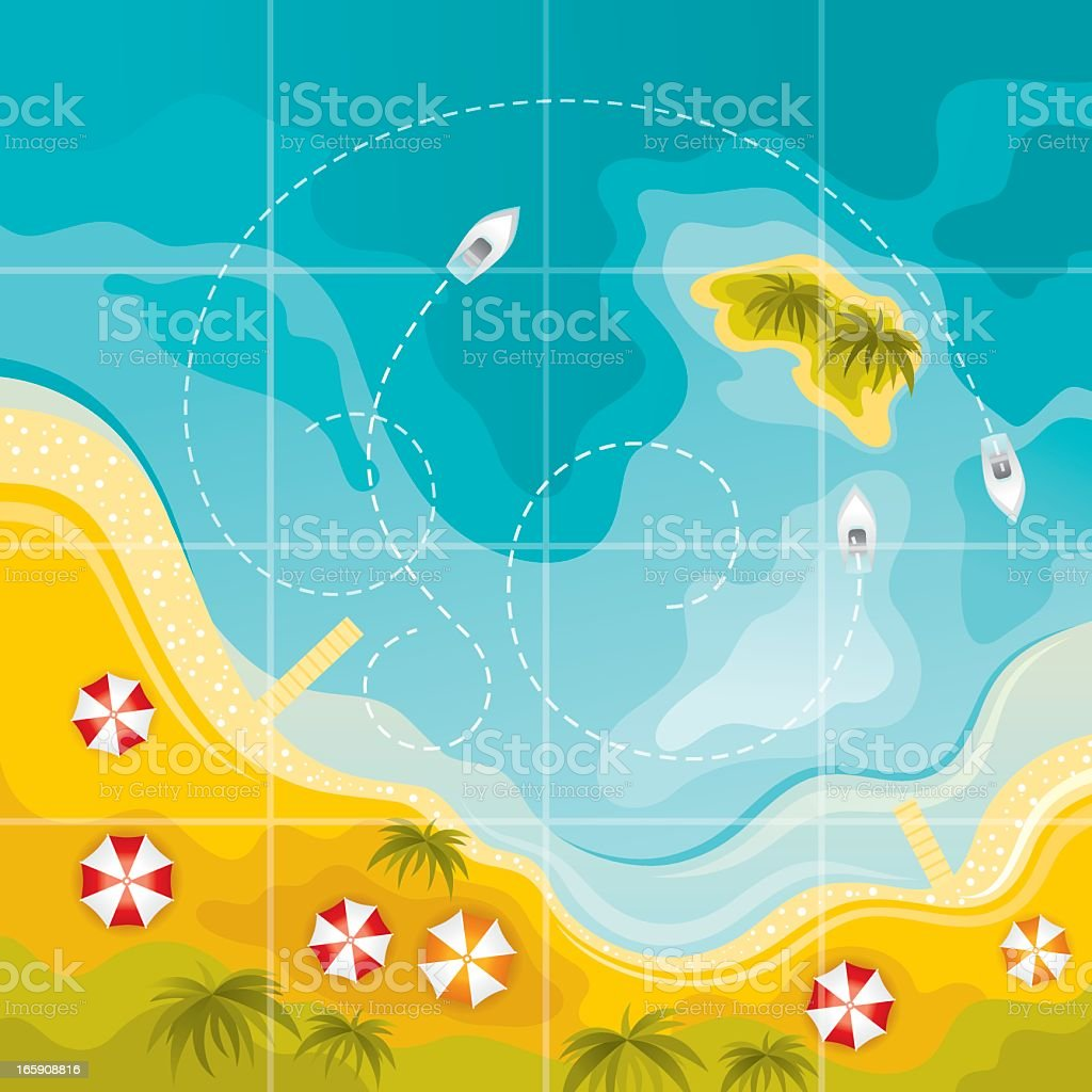 Beach map vector art illustration