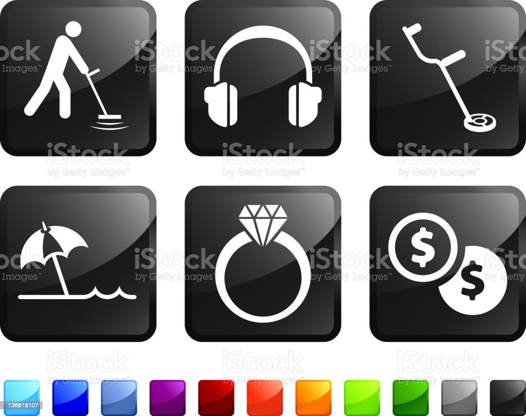 beach metal detector royalty free vector icon set stickers vector art illustration