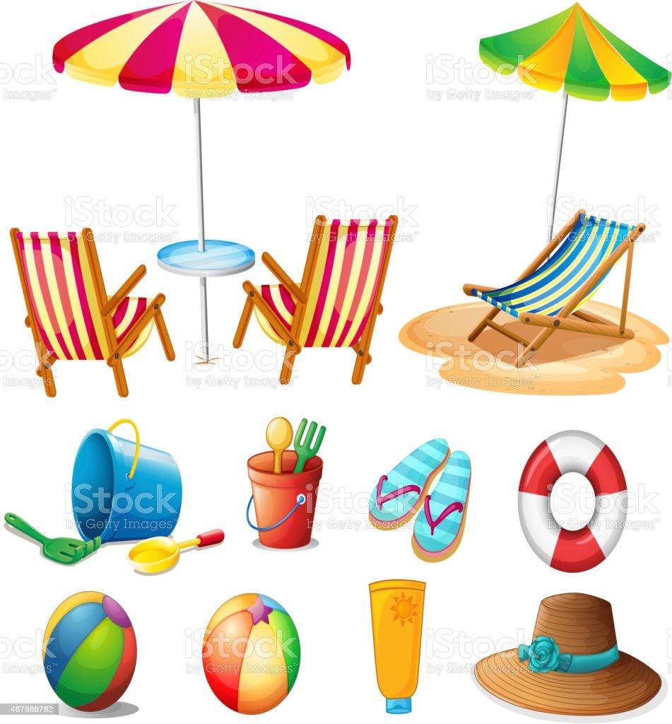 Beach objects  toys vector art illustration